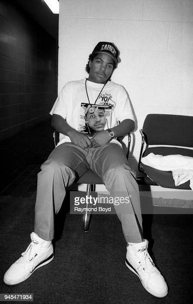 Rapper Ice Cube poses for photos backstage at the Genesis Convention Center in Gary Indiana in July 1989