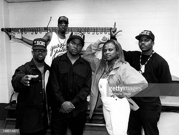 Rapper and actor Ice Cube poses with The Lench Mob backstage at The Arena in St Louis Missouri in AUGUST 1990