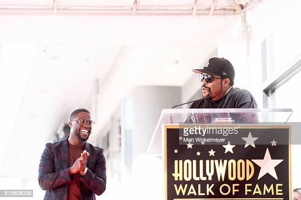 Rapper Ice Cube speaks onstage as actor/comedian Kevin Hart is honored with a star on the Hollywood Walk of Fame on October 10 2016 in Hollywood...