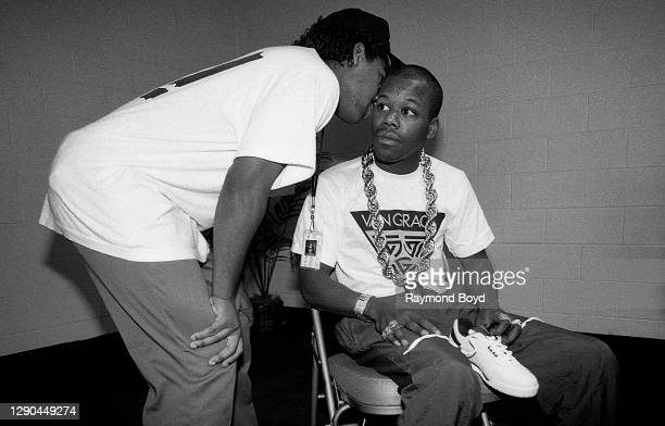 Rapper Ice Cube wishes fellow rapper Too Short well wishes before he takes the stage at the Genesis Convention Center in Gary, Indiana in July 1989.