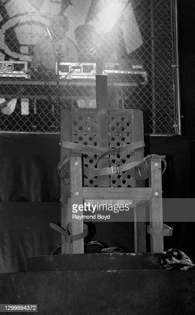 Rapper Ice Cube's mock electric chair on stage at the U.I.C. Pavilion in Chicago, Illinois in November 1990.