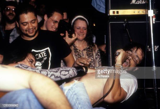 Rapper Ice-T and Body Count perform in concert at CBGB on August 12, 1991 in New York City.