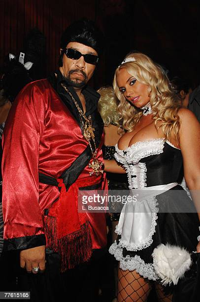 Rapper IceT and his wife Coco attend the Roberto Cavalli Vodka and Giuseppe Cipriani Halloween Party at Ciprianis 42nd Street on October 31 2007 in...