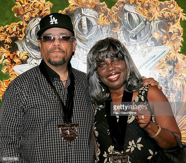 Rapper IceT with Voletta Wallace mother of the late rapper Notorious BIG during VH1's 2005 Hip Hop Honors Preparty at Splashlight Studios September...