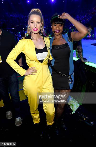 Rapper Iggy Azalea and actress/singer Jennifer Hudson attend Nickelodeon's 28th Annual Kids' Choice Awards held at The Forum on March 28 2015 in...
