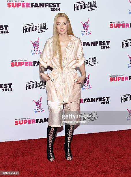 Rapper Iggy Azalea attends the Vevo CERTIFIED SuperFanFest presented by Honda Stage at Barkar Hangar arrives at the at Barker Hangar on October 8...