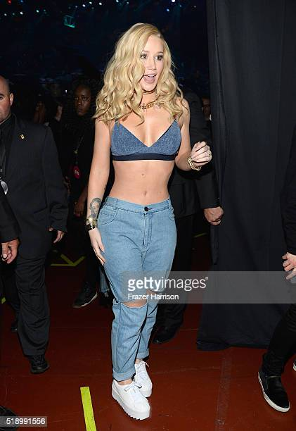 Rapper Iggy Azalea backstage at the iHeartRadio Music Awards which broadcasted live on TBS TNT AND TRUTV from The Forum on April 3 20