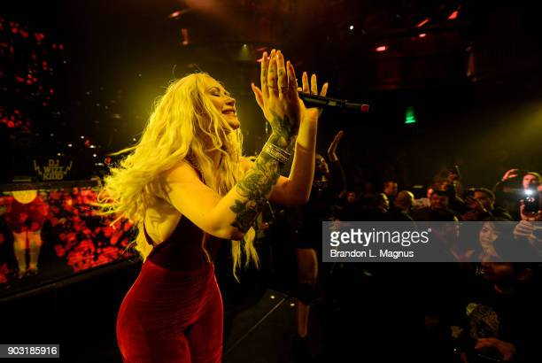 Rapper Iggy Azalea performs during a Monster Inc CES party at Omnia Nightclub at Caesars Palace on January 9 2018 in Las Vegas Nevada