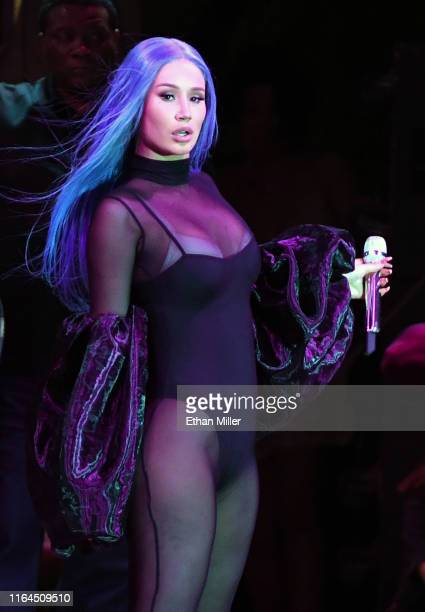 Rapper Iggy Azalea performs during the WNBA All-Star Game 2019 beach concert at the Mandalay Bay Beach at Mandalay Bay Resort and Casino on July 26,...