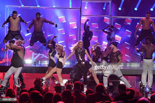 Rapper Iggy Azalea performs onstage at the 2014 American Music Awards at Nokia Theatre LA Live on November 23 2014 in Los Angeles California