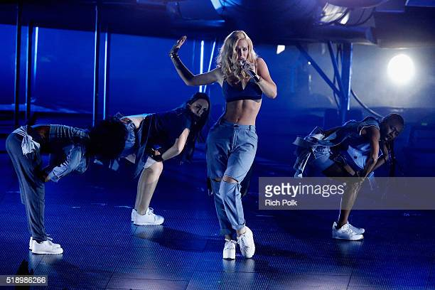 Rapper Iggy Azalea performs onstage at the iHeartRadio Music Awards which broadcasted live on TBS TNT AND TRUTV from The Forum on April 3 2016 in...