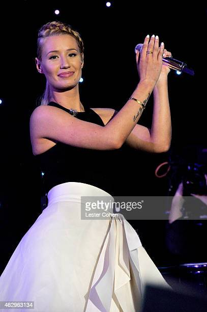 Rapper Iggy Azalea performs onstage at the PreGRAMMY Gala and Salute To Industry Icons honoring Martin Bandier at The Beverly Hilton Hotel on...