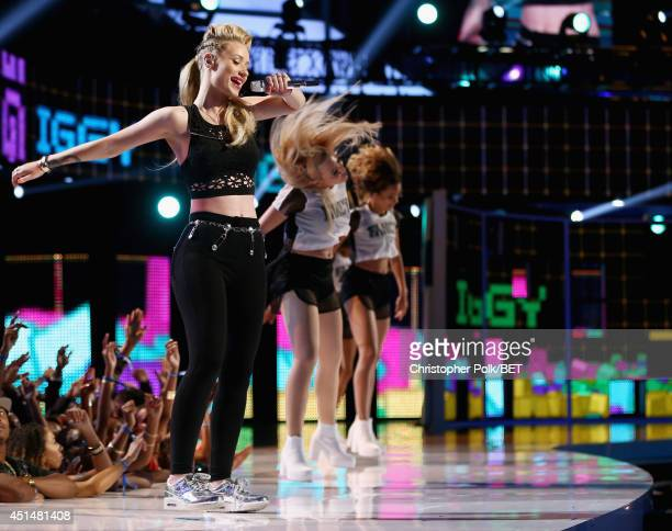 Rapper Iggy Azalea performs onstage during the BET AWARDS '14 at Nokia Theatre LA LIVE on June 29 2014 in Los Angeles California