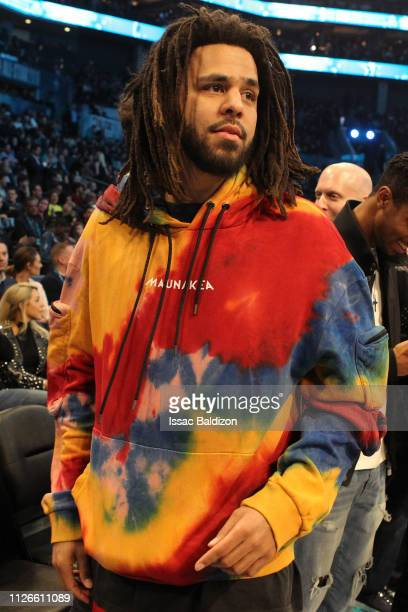Rapper J Cole looks on during the 2019 NBA AllStar Game on February 17 2019 at the Spectrum Center in Charlotte North Carolina NOTE TO USER User...