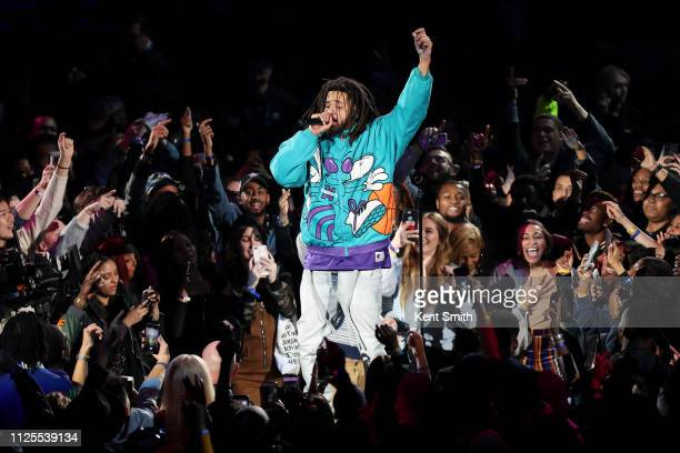 Rapper J Cole performs during halftime of the 2019 NBA AllStar Game on February 17 2019 at the Spectrum Center in Charlotte North Carolina NOTE TO...