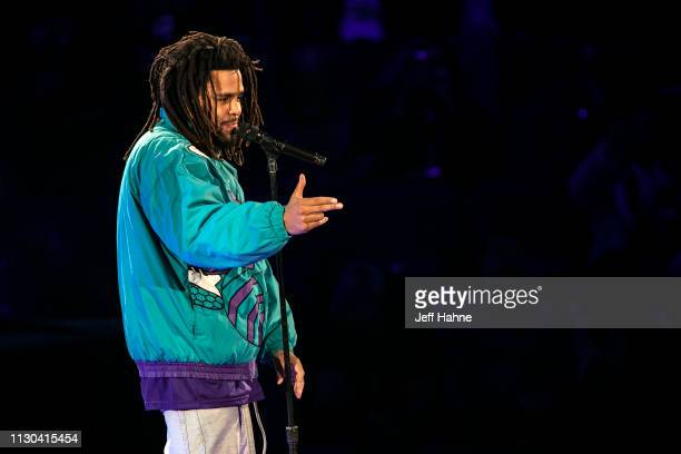 Rapper J Cole performs during halftime of the 68th NBA AllStar Game on February 17 2019 in Charlotte North Carolina