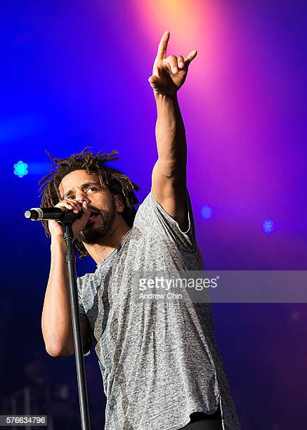 Rapper J Cole performs onstage during day 2 of Pemberton Music Festival on July 15 2016 in Pemberton Canada