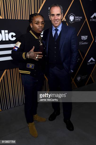 Rapper Jacquees and Republic Records Chairman CEO and CoFounder Monte Lipman attend Republic Records Celebrates the GRAMMY Awards in Partnership with...
