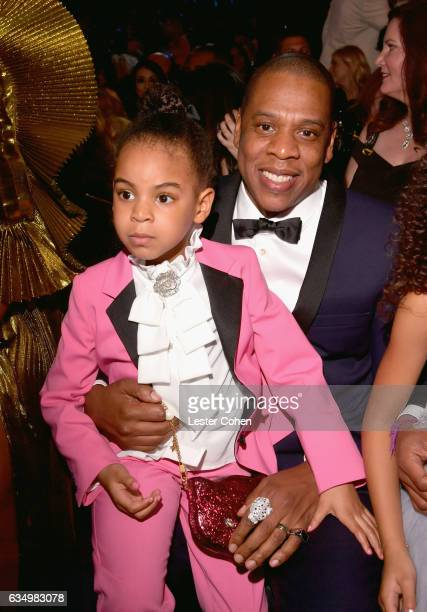 Rapper Jay Z and Blue Ivy Carter during The 59th GRAMMY Awards at STAPLES Center on February 12, 2017 in Los Angeles, California.