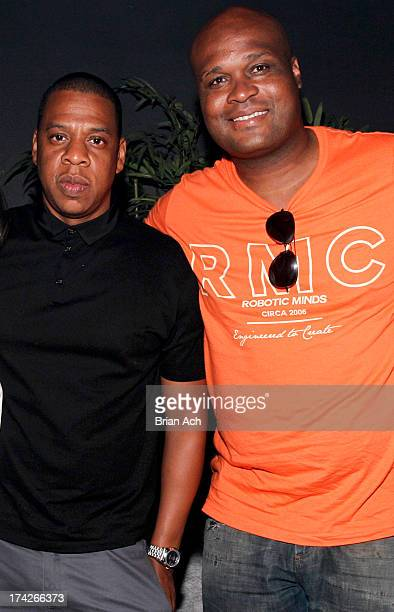 Rapper Jay Z and former NBA player Antoine Walker attend the Jay Z and D'USSE Cognac Host The Official Legends of the Summer After Party at Lumen on...