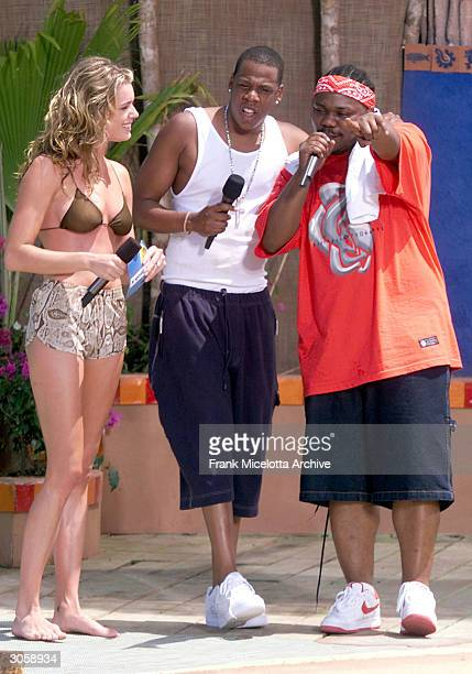 Rapper JayZ Actress Rebecca Romijn Stamos perform during MTV's Spring Break 2000 in Cancun Mexico