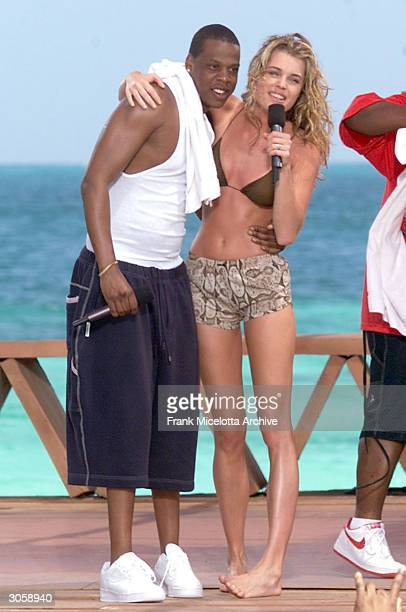 Rapper JayZ and Actress Rebecca RomijnStamos perform during MTV's Spring Break 2000 in Cancun Mexico