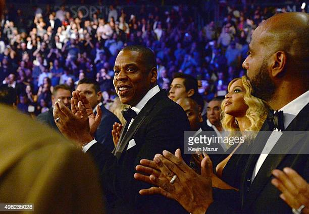 Rapper JayZ and President of Roc Nation Sports Juan Perez attend Roc Nation Sports Golden Boy Promotions Miguel Cotto Promotions And Canelo...