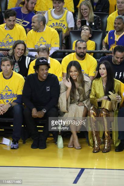 Rapper Jay-Z and Singer Beyonce attend a game between the Golden State Warriors and Toronto Raptors in Game Three of the NBA Finals on June 5, 2019...