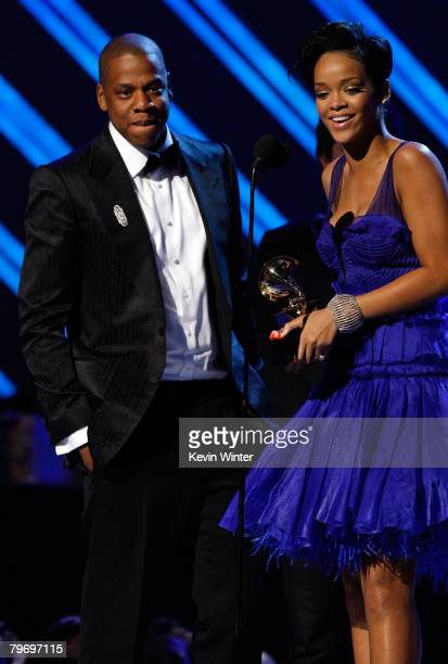 Rapper JayZ and singer Rihanna accept the Best Rap/Sung Collaberation award onstage during the 50th annual Grammy awards held at the Staples Center...