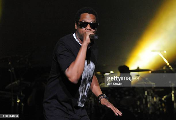 Rapper Jay-Z performs at the launch of DJ Hero hosted by ActiVision held at The Wiltern on June 1, 2009 in Los Angeles, California.