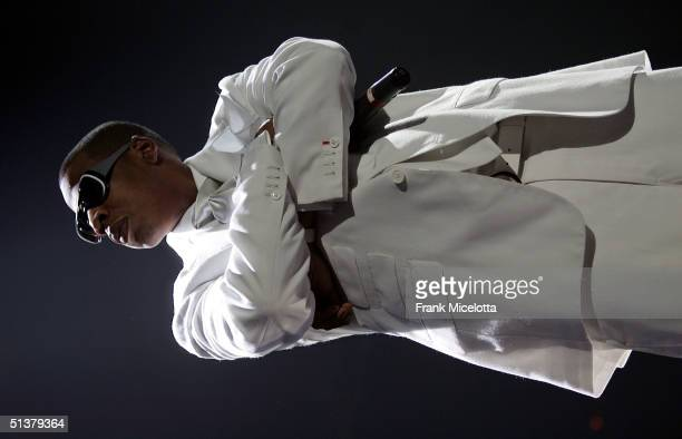 Rapper JayZ performs during the Best of Both Worlds tour with R Kelly September 30 2004 at the Allstate Arena in Rosemont Ill