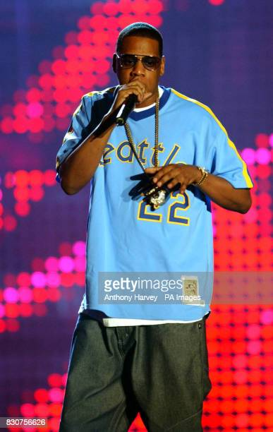 US rapper JayZ performs during the MTV Europe Music Awards at the Festhalle in Frankfurt Germany The awards being presented by Staines's very own Ali...