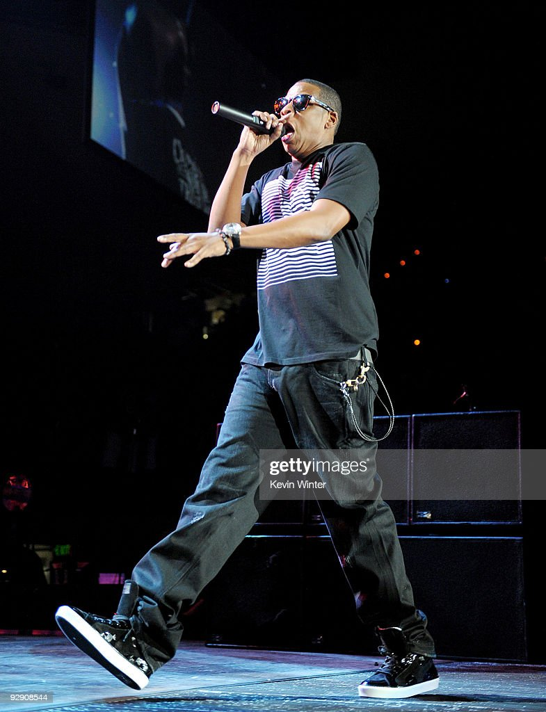 Jay z the blueprint 3 tour in los angeles photos and images getty rapper jay z performs onstage during his blueprint 3 tour at uclas pauley pavilion on malvernweather Images