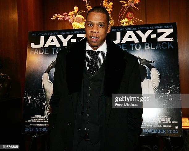 Rapper JayZ the world premiere of concert film JayZ Fade to Black November 4 2004 at the Zigfield theater in New York City