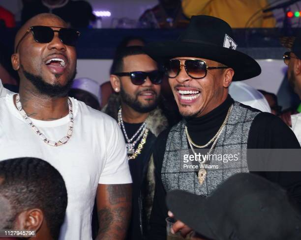 Rapper Jeezy and T.I. Attend Official Big Game Kick Off Hosted by Trey Songz + Jeezy at Gold Room on February 3, 2019 in Atlanta, Georgia.