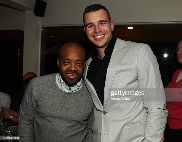 Rapper Jermaine Dupri and producer Charlie Ebersol attend the Friends N Family Dinner at The Jack Warner Estate on February 10 2011 in Los Angeles...
