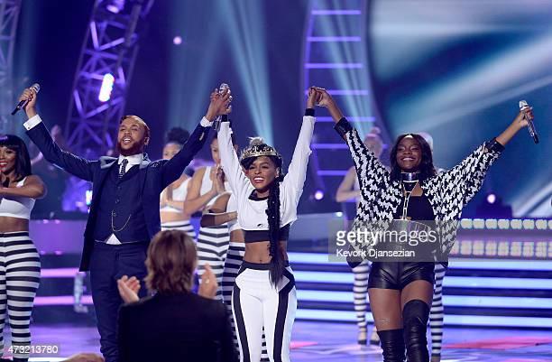 "Rapper Jidenna, singer Janelle Monae, and finalsit Adanna Duru perform onstage with finalist Adanna Duru during ""American Idol"" XIV Grand Finale at..."