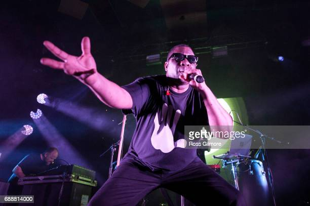 Rapper Jim Jim performs with Leftfield at Barrowlands Ballroom on May 26 2017 in Glasgow Scotland