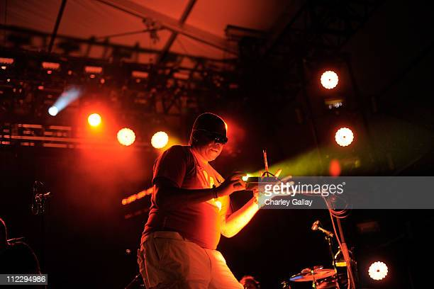 Rapper Jim Jim performs with Leftfield during Day 3 of the Coachella Valley Music Arts Festival 2011 held at the Empire Polo Club on April 17 2011 in...
