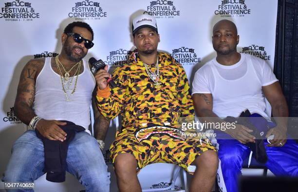 Rapper Jim Jones, Juelz Santana and Freekey Zekey attends 2018 A3C Festival at at Georgia Freight Depot on October 7, 2018 in Atlanta, Georgia.