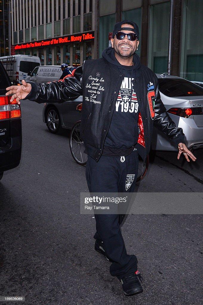 Rapper Jim Jones walks in Midtown Manhattan on January 14, 2013 in New York City.