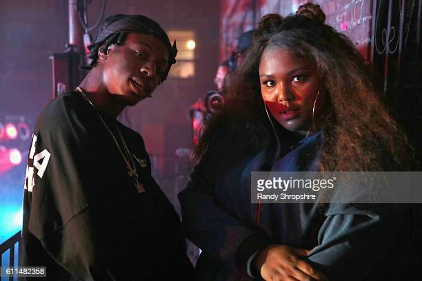 Rapper Joey Bada$$ and musical artist Lizzo speak onstage at MTV's 'Wonderland' LIVE Show on September 29 2016 in Los Angeles California