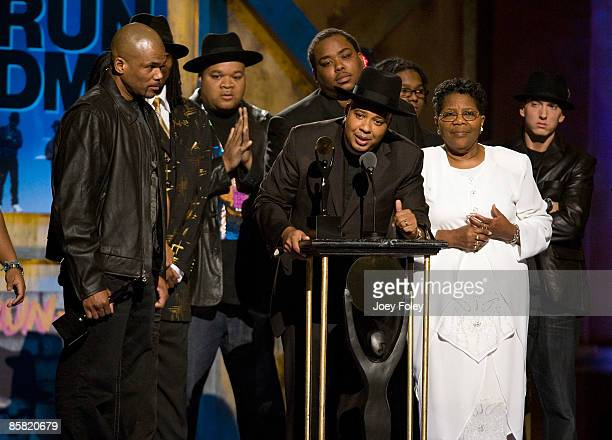 Rapper Joseph 'Reverend Run' Simmons speaks onstage as Run DMC is inducted during the 24th Annual Rock and Roll Hall of Fame Induction Ceremony at...