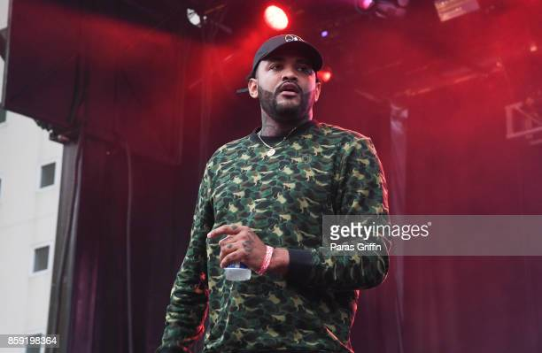 Rapper Joyner Lucas performs onstage in concert during 2017 A3C Festival at Georgia Freight Depot on October 8 2017 in Atlanta Georgia