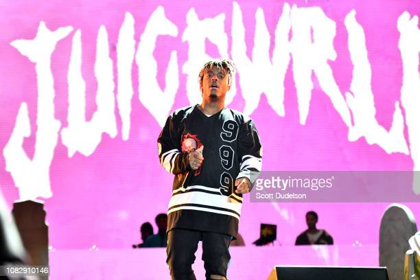 Rapper Juice Wrld performs onstage during day one of the Rolling Loud Festival at Banc of California Stadium on December 14 2018 in Los Angeles...