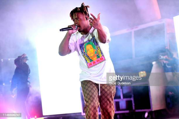 Rapper Juice WRLD performs onstage during the 'Death Race for Love' tour at The Greek Theatre on May 02 2019 in Los Angeles California