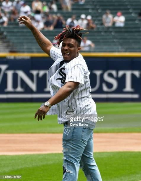 Rapper Juice Wrld throws out a ceremonial first pitch before the game between the Chicago White Sox and the Minnesota Twins at Guaranteed Rate Field...