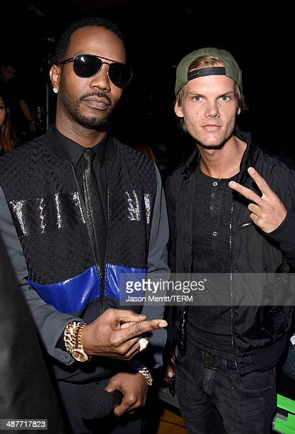 Rapper Juicy J and DJ Avicii backstage at the 2014 iHeartRadio Music Awards  held at The