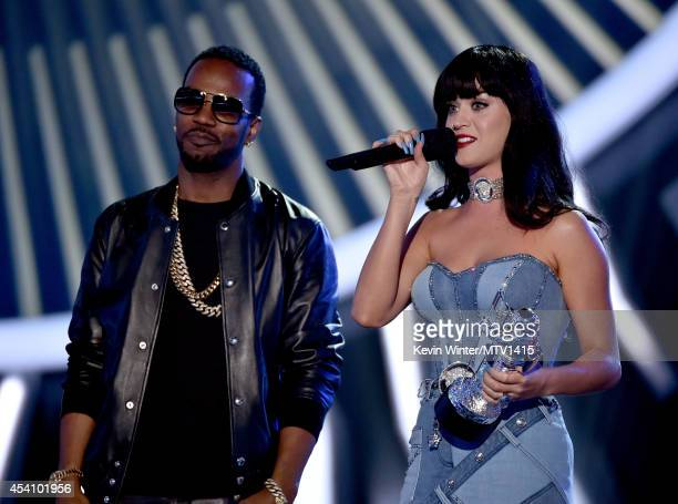 Rapper Juicy J and singer Katy Perry accept Best Female Video for 'Dark Horse' onstage during the 2014 MTV Video Music Awards at The Forum on August...