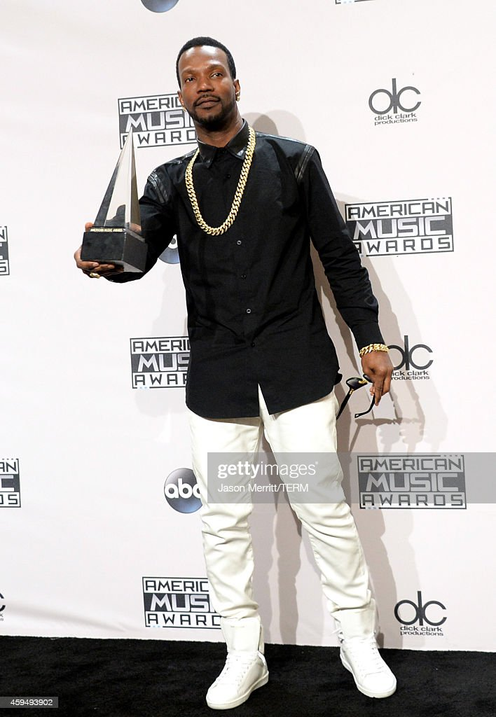 Rapper Juicy J, co-winner (with Katy Perry) of Single of the Year for 'Dark Horse,' poses in the press room at the 2014 American Music Awards at Nokia Theatre L.A. Live on November 23, 2014 in Los Angeles, California.